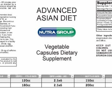 Private label Advanced Asian Diet supplement