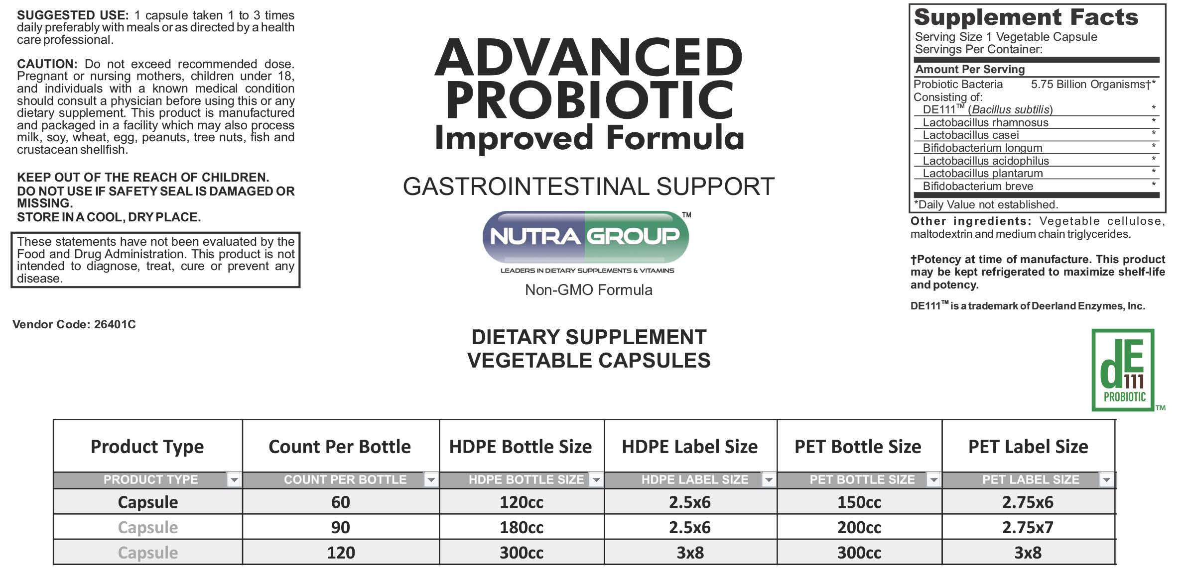 Private Label probiotics supplement
