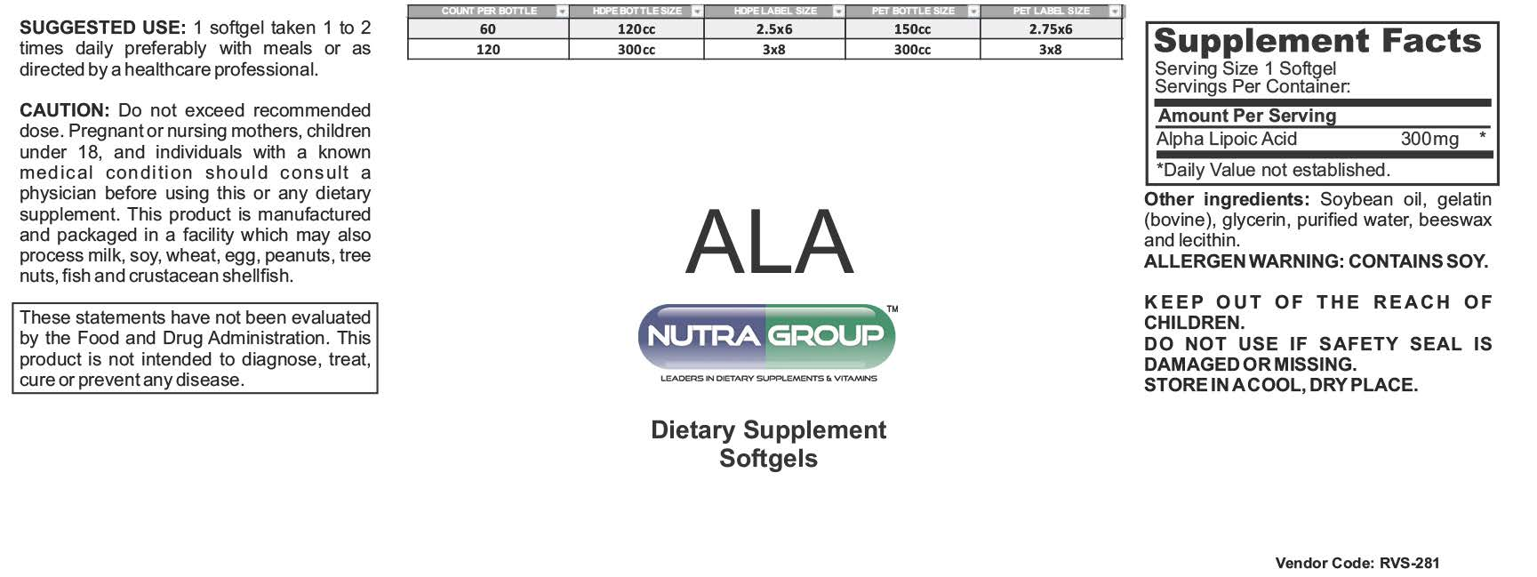 ala supplement | Private label ALA supplements