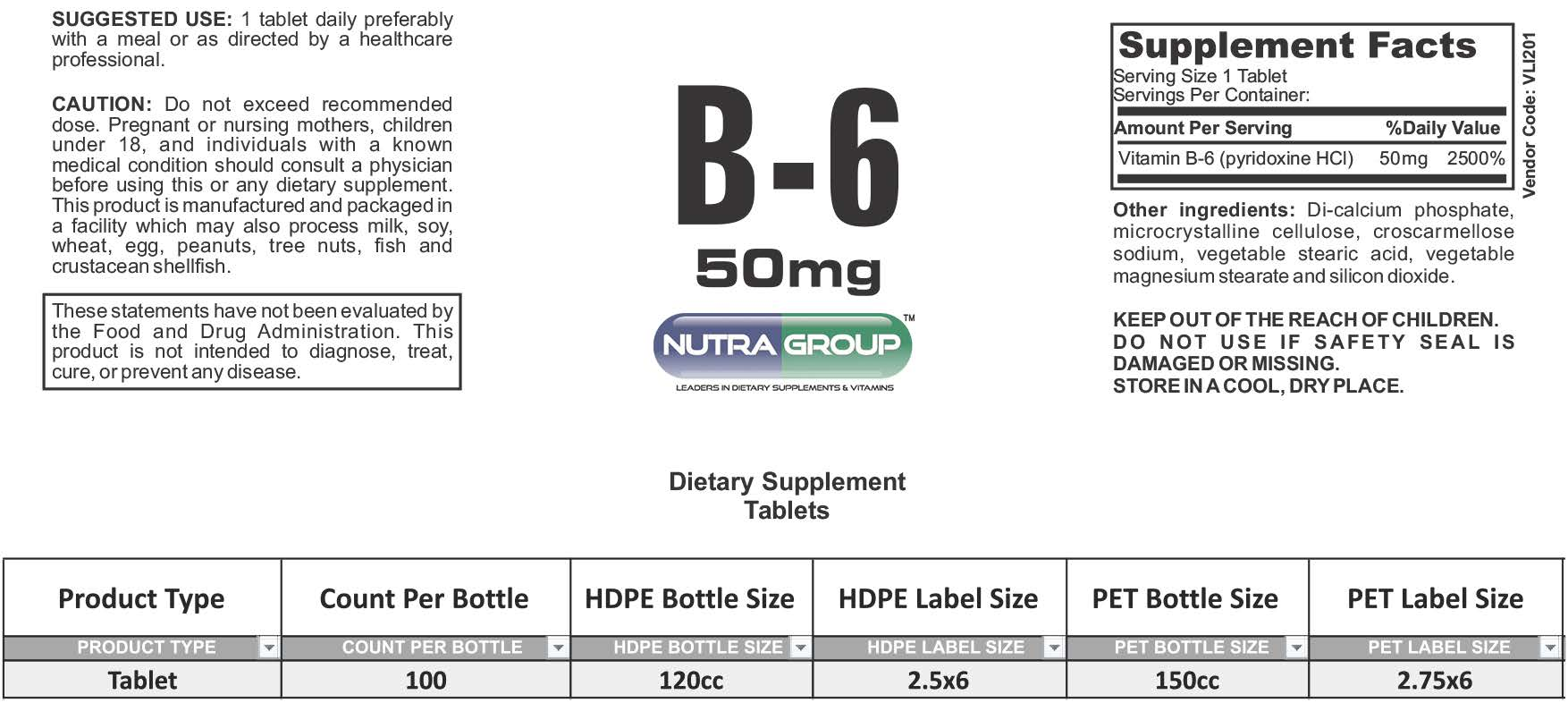 Private label vitamin B6 supplement