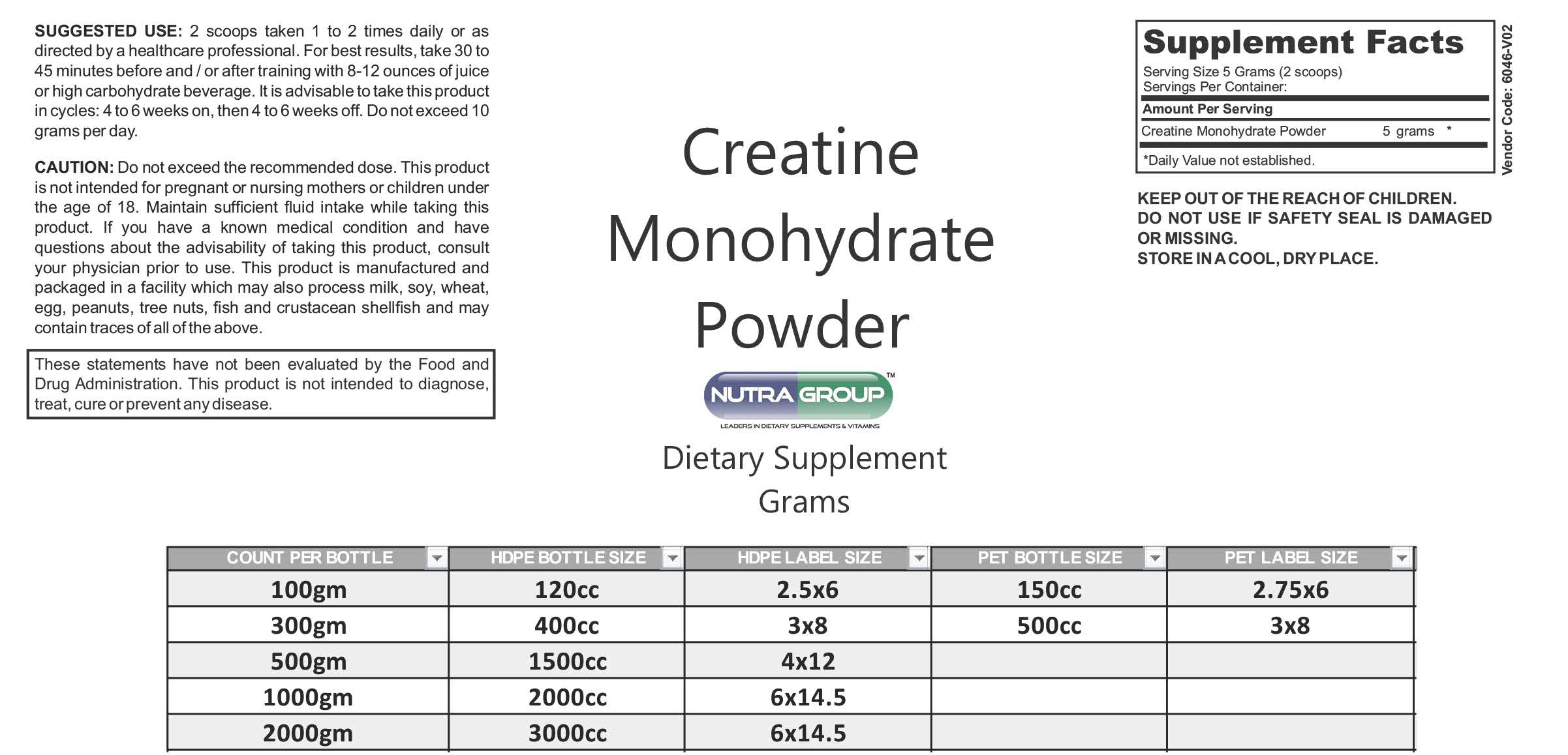 Private Label Creatine Monohydrate