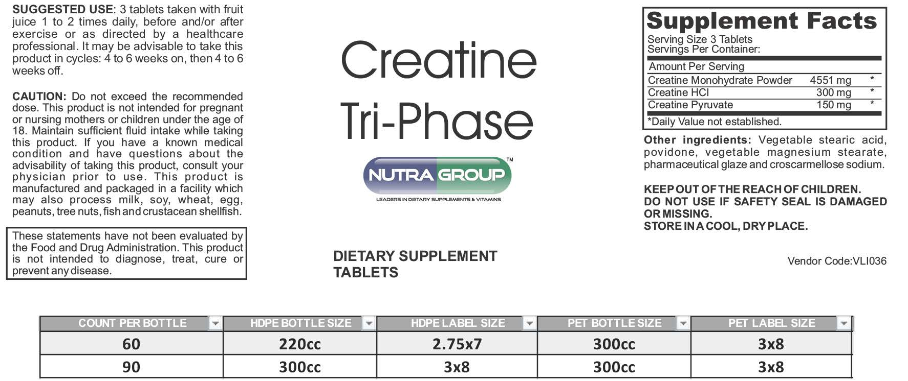 Private Label Creatine Tri-phase Supplement