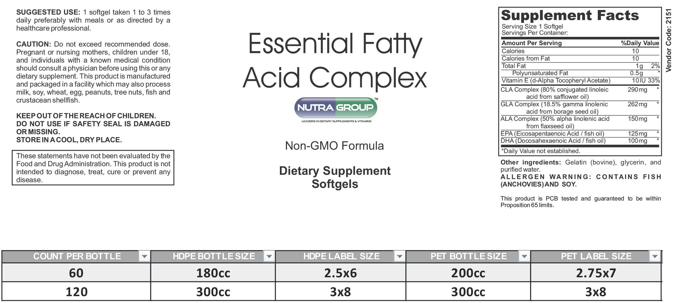 Private label EFA supplements