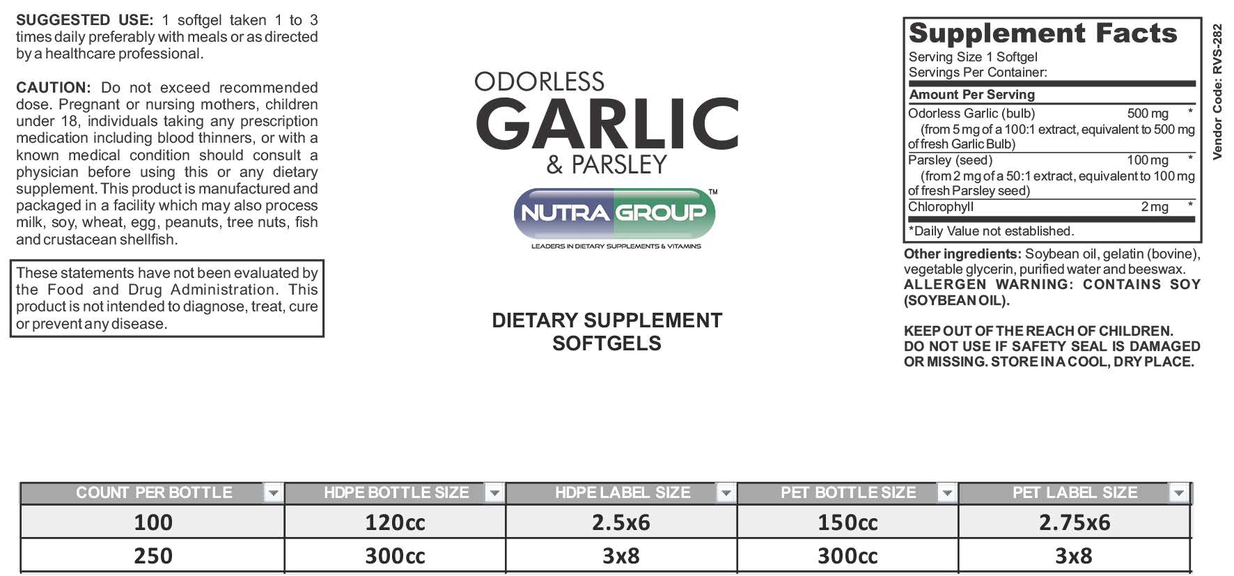 Private Label Garlic & Parsley Supplement