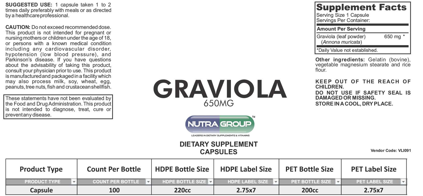 Private label Graviola capsules