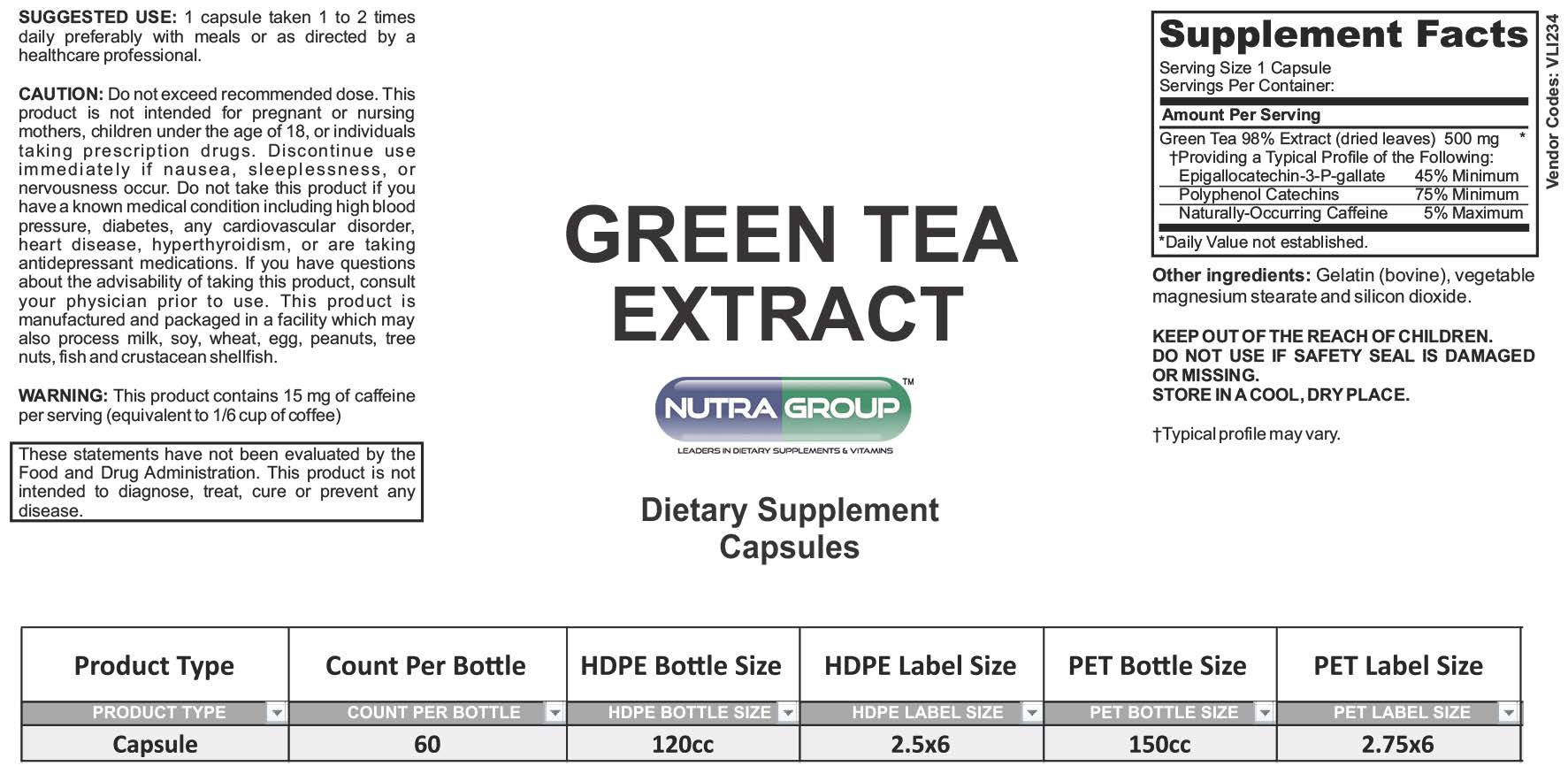 Private label Green Tea supplements
