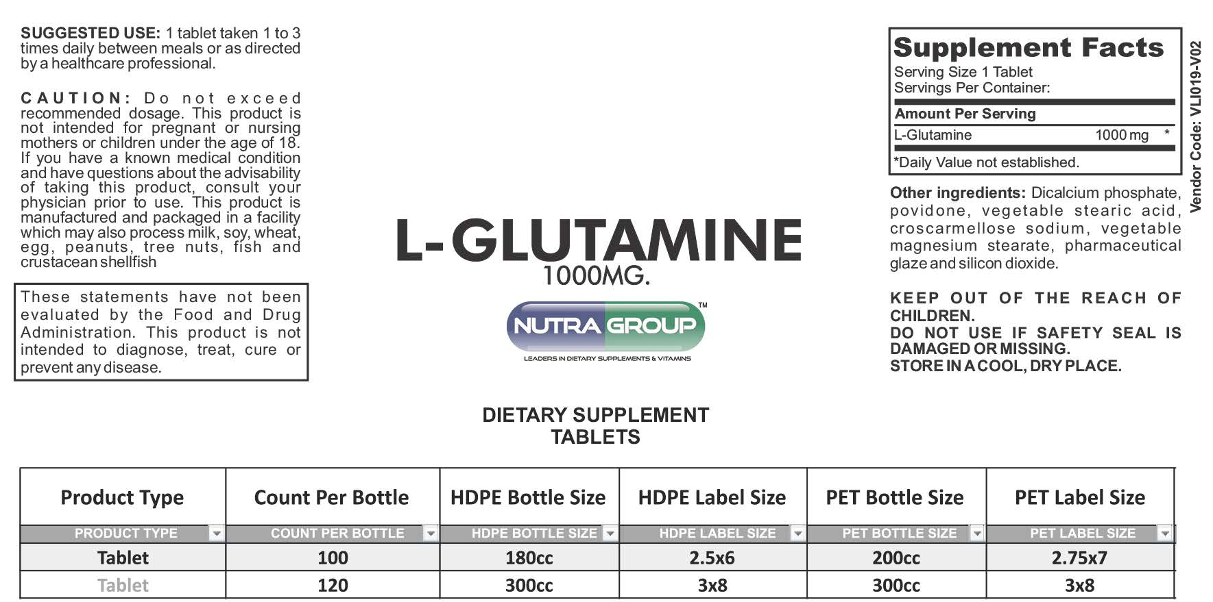 Private label L-Glutamine supplement