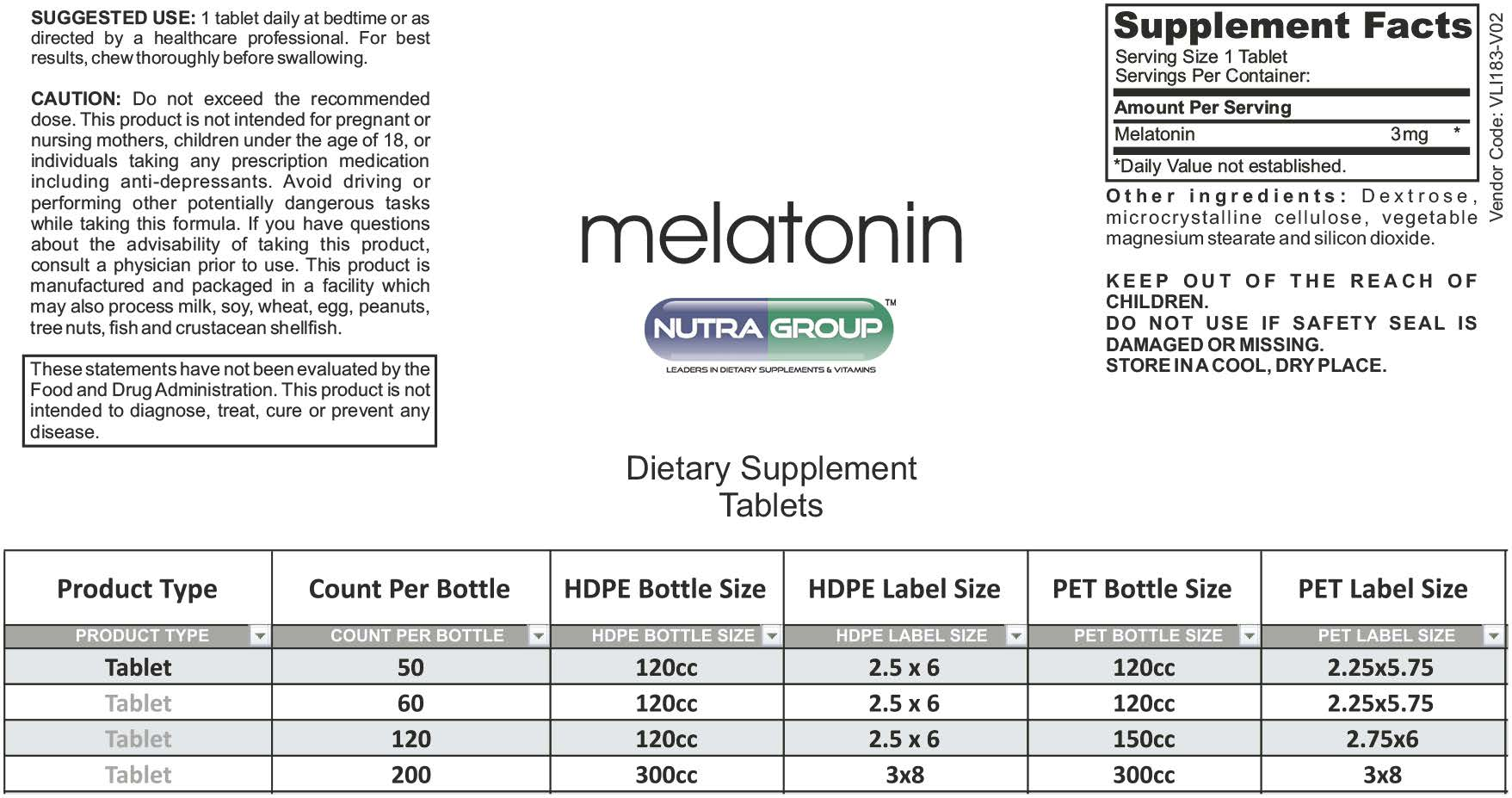 Private Label Melatonin 3mg