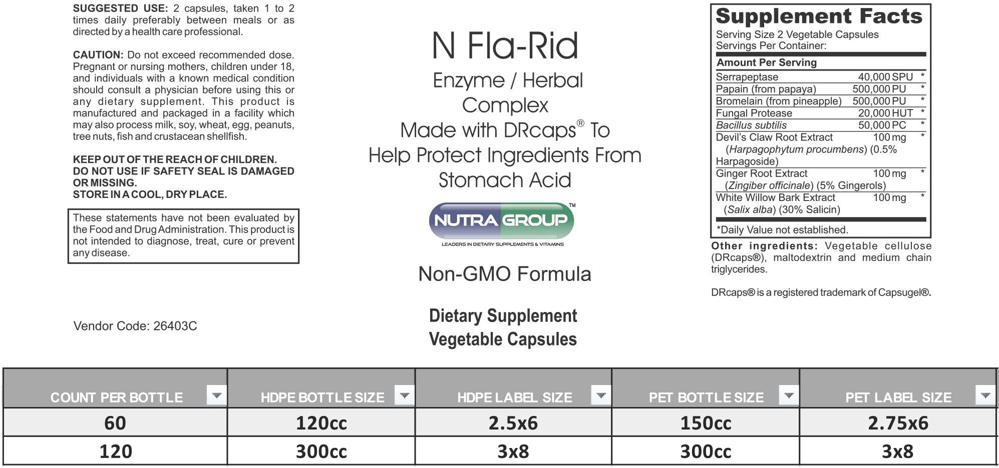Private Label N FLA-RID Supplement -