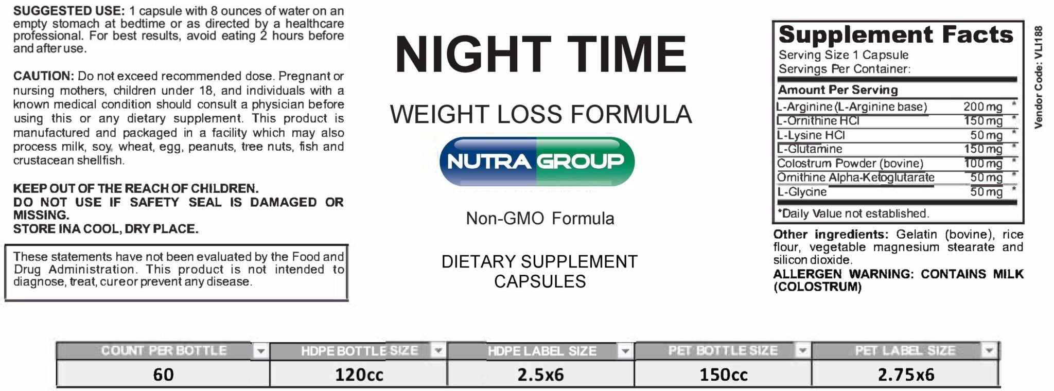 Private Label Night Time Weight Loss Supplement