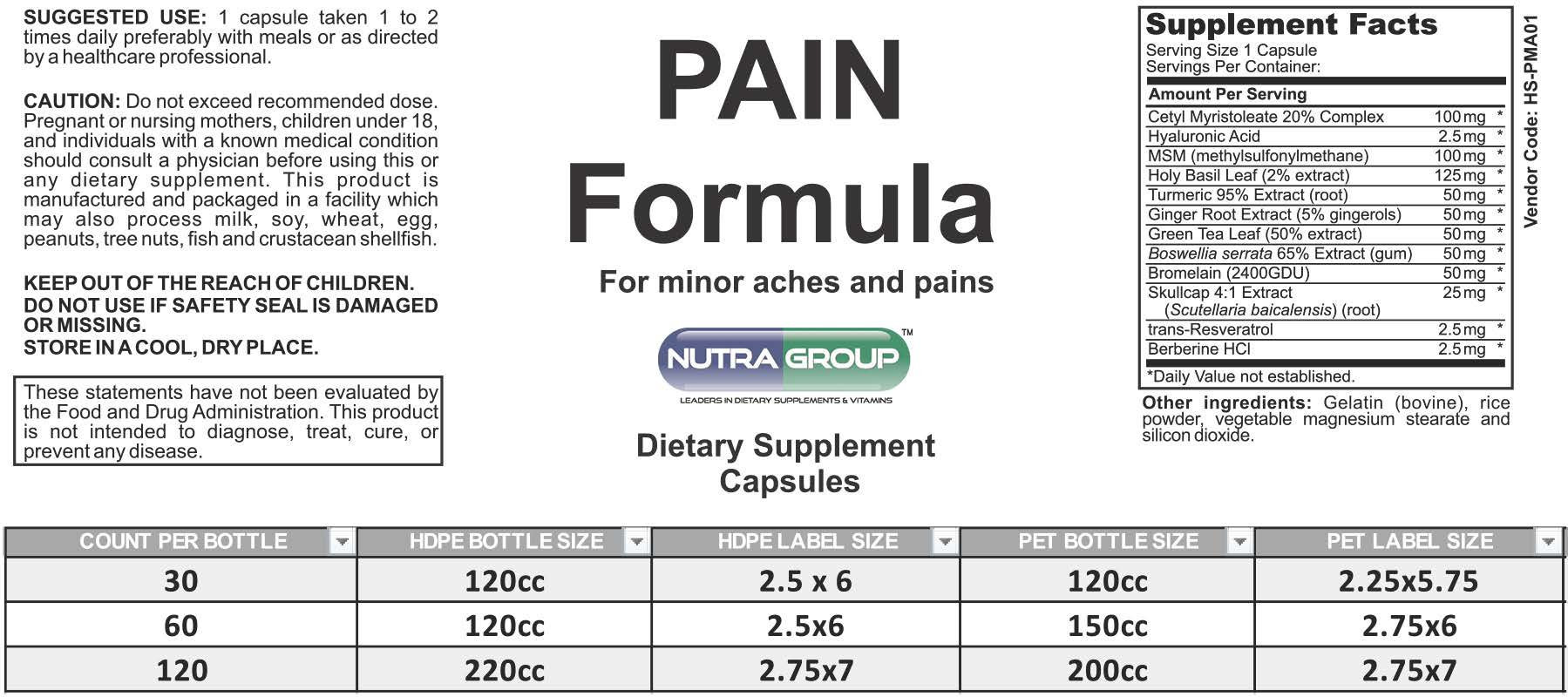 Private Label Pain Supplement