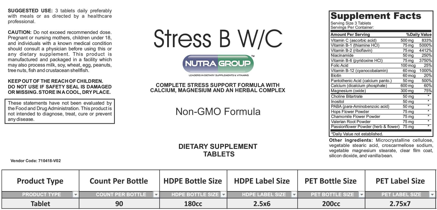 Private label Vitamins for Stress