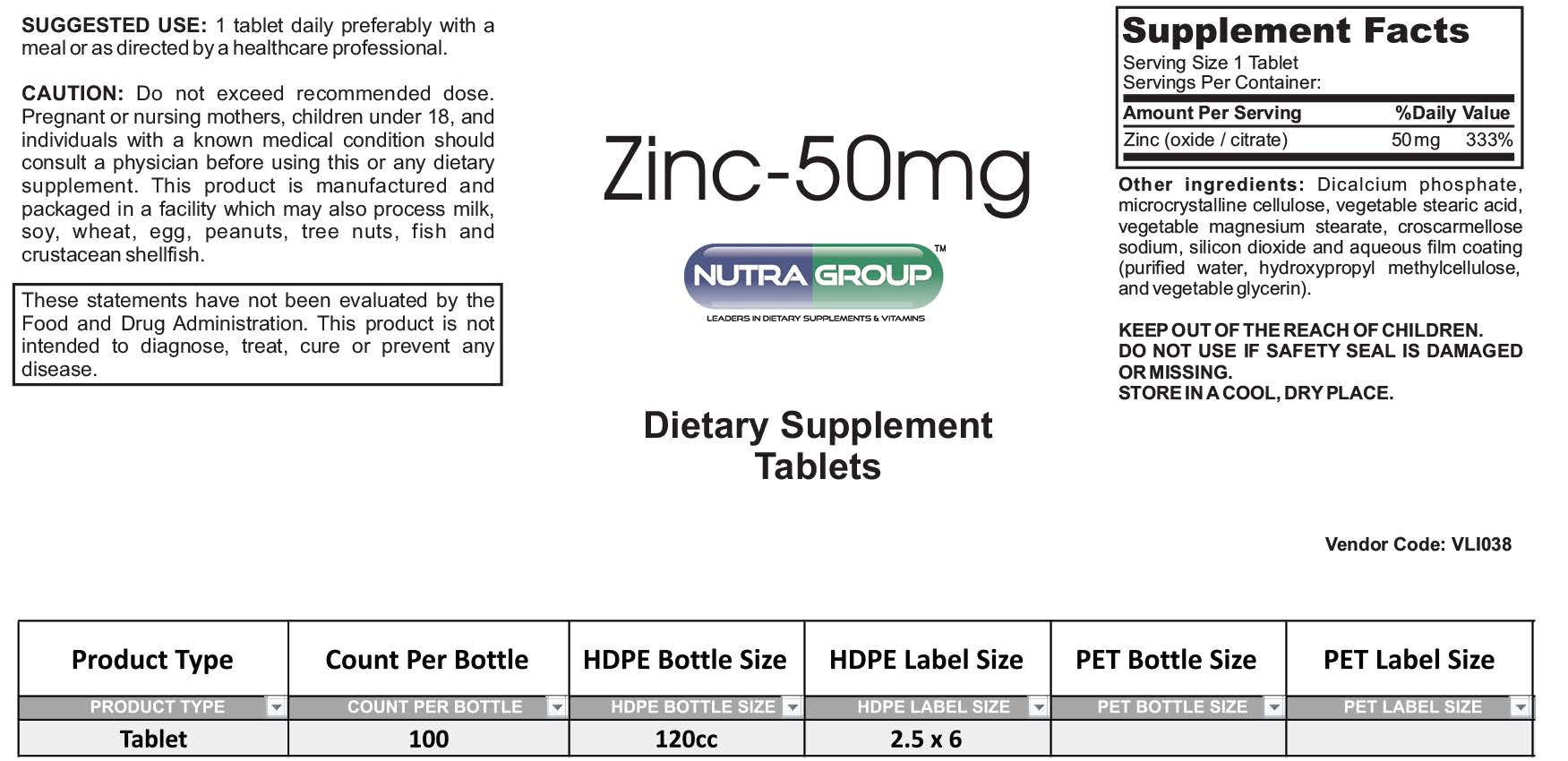 Private Label Zinc supplement