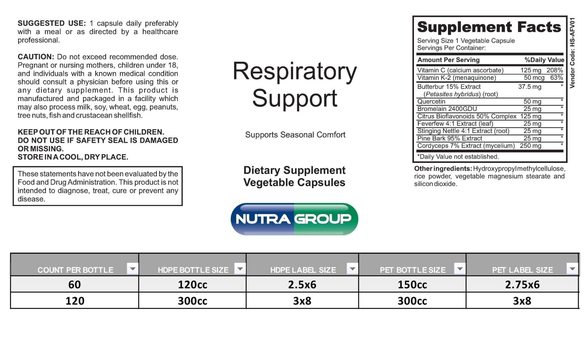 Private Label Respiratory supplements